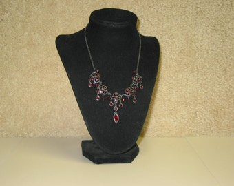 Beautiful Vintage Red Stone Chain Necklace