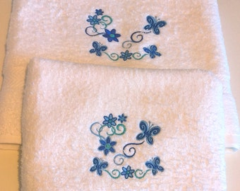 Embroidered Butterflies and Flowers Design Hand and Bath Towels