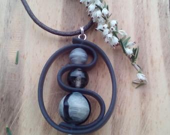 Pendant Buna cord, glass beads, waxed cotton Choker