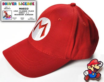 Super Mario 3pc Gift Set - Baseball Cap, Driver License & Pin. Great gift for Mario fans.