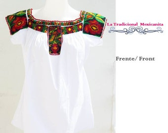 Traditional Mexican Blouse beads embroidered. Ready to send.