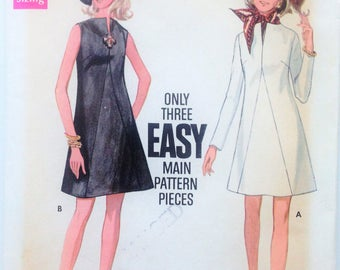 Vintage 1960's Butterick sewing pattern 5506 - Misses' one piece semi-fitted A-line dress