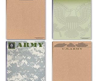 US Army Notepads - 4 Assorted Army Note Pads - Military - Armed Forces - 630
