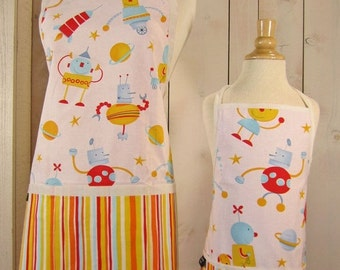 40% off Robots Mommy and Me Apron - Toddler size - Reversible