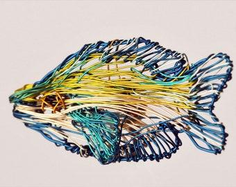 Tropical fish brooch, blue yellow, wire sculpture art, sea, ocean, unusual, modern hippie, beach jewelry, Summer, best friend gift woman