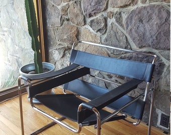 Wassily Style Bauhaus Black Leather Sling And Chrome Lounge Chair   Knoll Style  Chair