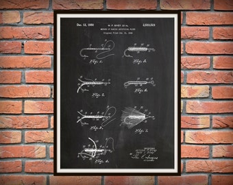 Patent 1950 Fishing Lures and Flies - How to Tie Flies - Art Print - Poster -  Man Cave Art- Fishing Camp Wall Art - Fishing Tackle Art