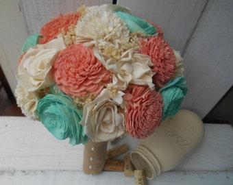 Coral Mint/Teal Sola bouquet, brides bouquet, rustic wedding, wedding bouquet, alternative bouquet, keepsake bouquet, teal, mint, coral