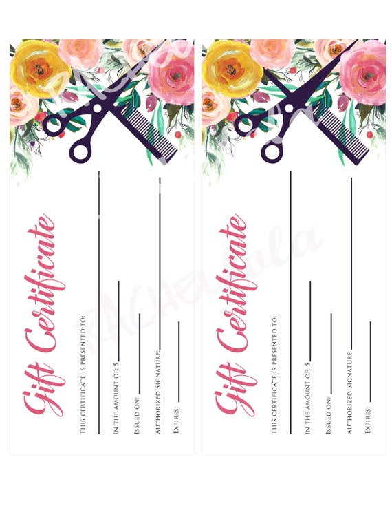 Hair salon watercolor floral printable gift certificate hair salon watercolor floral printable gift certificate template spring hair stylist gift voucher gift card instant digital download yadclub Images