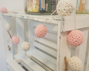 Crochet Ball Garland in pink and cream. Home decoration