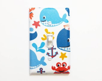 Blue gingham whales light switch cover - Nautical nursery decor - Anchor decor - Kids nautical bedroom - Whale wall decor - Under the sea
