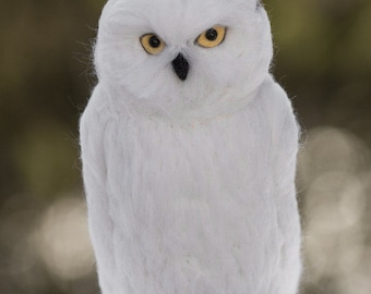 Snowy Owl needle felted handmade wool bird