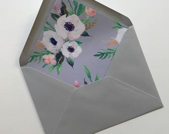 Floral Envelope Liner - Wildflower - Wedding Envelope - - Rustic Wedding Stationery