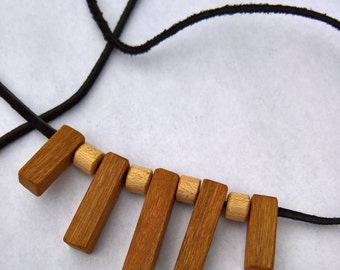 Hand made maple and cherry necklace