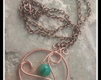 Necklace Triskell Copper and Agate