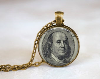 Benjamin Franklin Dollar Bill Necklace, Gift for history teacher, 100 dollar bill pendant, Gift for history professor, Dollar Necklace Gift