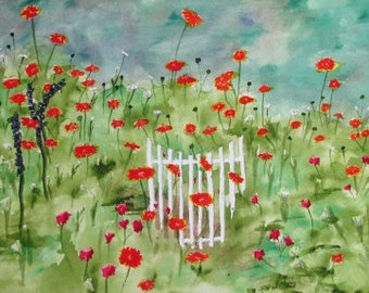 Fredericksburg Garden Gate, Glossy Greeting Card, 5x7 inches