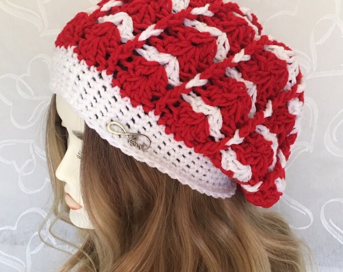 Slouchy Crocheted Hats-Woman and Child Matching Hat-Women's Hats-Christmas Hats-Childrens Hats-Winter HatEarm Hat