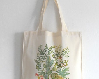 Green cacti and succulent jungle cotton canvas, Garden plant art watercolor illustration print tote bag, Pastel green cactus bag, Cactus art
