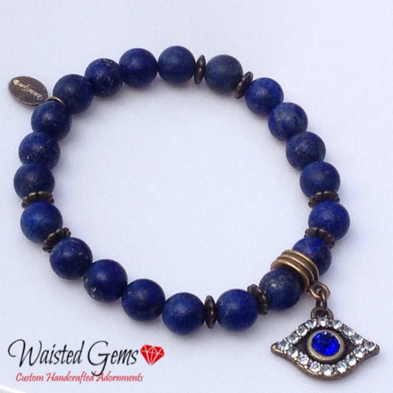 Blue Sodalite Evil Eye Beaded Bracelet, Men Bracelets, Gifts for him, Fathers Day Gifts zmw04402.1