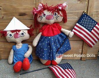 Shweet Primitive Americana Duo Raggedy Annie Andy Cloth Doll Set Handmade