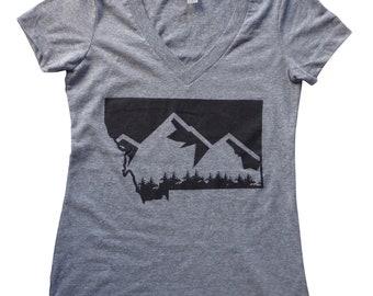 Women's Gray Montana Mountain V-neck