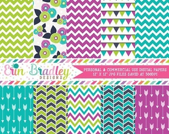 80% OFF SALE Purple Green & Blue Digital Scrapbook Paper Pack Instant Download Chevron Stripes Arrows Flower Patterns Commercial Use