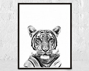 Tiger Print, Tiger Art, Tiger Wall Art, Animal Black and White, Black and White Prints, Nursery Wall Art, Tiger Printable Art, Tiger Poster