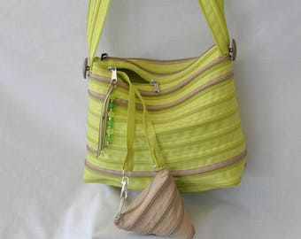 "two-tone Green Apple/caramel in zipper shoulder bag brand ""lightning"""