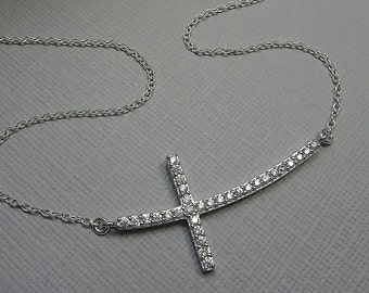 Sideways Cross Necklace, Sterling Silver and CZ Sideways Cross Necklace, Cross Necklace, Gift for Her, Christmas Gift, Christmas Necklace
