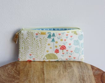 Cute woodland purse - Blue & yellow fabric pouch - Gift for her under 15 - Mini make up bag - Large coin purse  - Soft fabric glasses case
