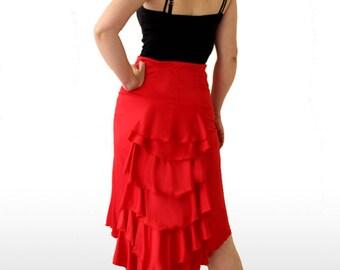Frill Bustle Skirt, Flamenco Pracitice Skirt, Various colours! Wiggle Skirt. Dancer gift. Salsa Skirt. Tango Skirt. Dancer costume.