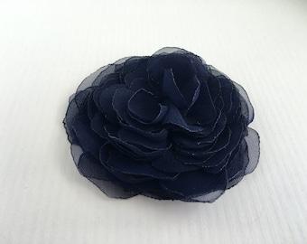 Navy Peony Flower Hair Piece.Wedding Hair Clip.Peony Bridal Headpiece.Navy Blue Hair Piece.pin.fabric brooch.Blue flower hair accessory