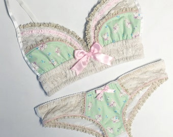 Kitten Mint & Pink with Cream/Gold Lace Bra - Pick Your Size - Handmade Vegan Bridal