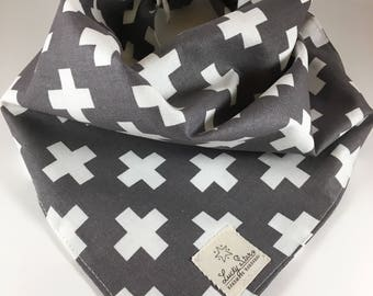 Dog Bandana/ Pet Bandana/ Gray and White Dog Bandana/ Gray and White Pet Bandana/ Cross Dog Bandana/ Cross Pet Bandana