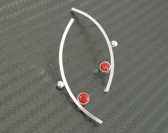 Silver Garnet Earrings / Art Deco Earrings / Silver Bar Earrings / Birthstone Earrings / Unique Silver Earrings / Unique Red Earrings