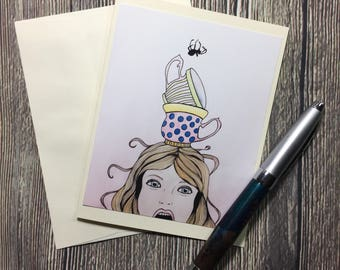 Little Miss Muffet Original Watercolor - Ivory Note Card