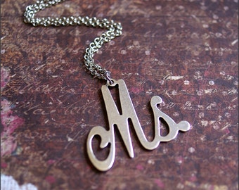 Personalized Initial Necklace LARGE 'MS' Pendant Necklace -Fun, Original, Funky Jewelry 'I'm Single' by RevelleRoseJewelry