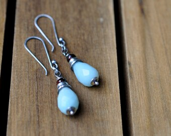Sterling Amazonite Garnet Earrings, Sterling Silver Stamped Earrings, Long Gemstone Dangly Earrings