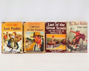 Zane Gray Cowboy Novels Vintage Book Collection, Great Western Novels 1920s