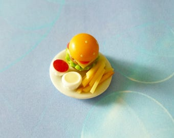 Mini hamburger ketchup french fries white plate ceramic -Doll food - Miniature food Dollhouse miniatures -tiny food