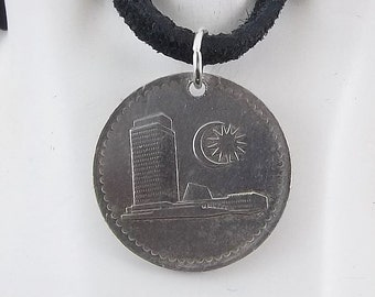Malaysia Coin Necklace, 10 Sen, Mens Necklace, Womens Necklace, Coin Pendant, Leather Cord, Birth  Year, 1981