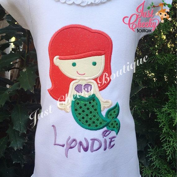 Ariel Inspired Embroidered Shirt - Mermaid Cutie - Disney Vacation - 1st Disney Trip - Disney Princess - Disney Birthday