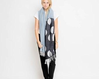nice Merino scarf big dots – blue