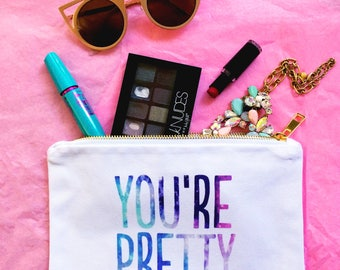 valentine gift for her cosmetic bag you're pretty gift for mom best friend bridesmaid gift white makeup bag toiletry dop kit pencil case