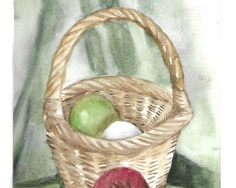 """Archival Textured Giclee of watercolor painting """"Fruit in a basket"""""""