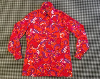1960's, long collar, button neck, blouse, in neon, ornate, floral print, Women's size Small/Medium