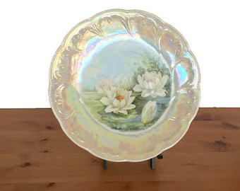 Vintage iridescent plate raised scrollwork hand painted flowers Mauville
