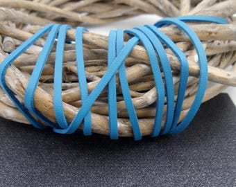 1.50 meters of suede like leather blue 3 mm wide