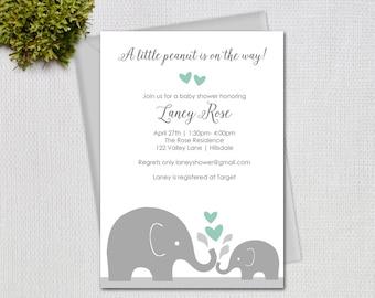 Elephant Baby Shower Invitation, Little Peanut Mint, Gender Neutral Design, Printable Digital Invitation, #10485
